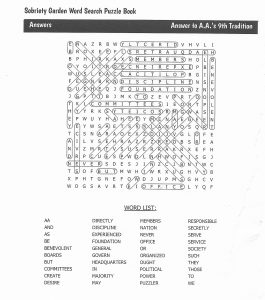 Click to enlarge: 9th Tradition Puzzle Answers